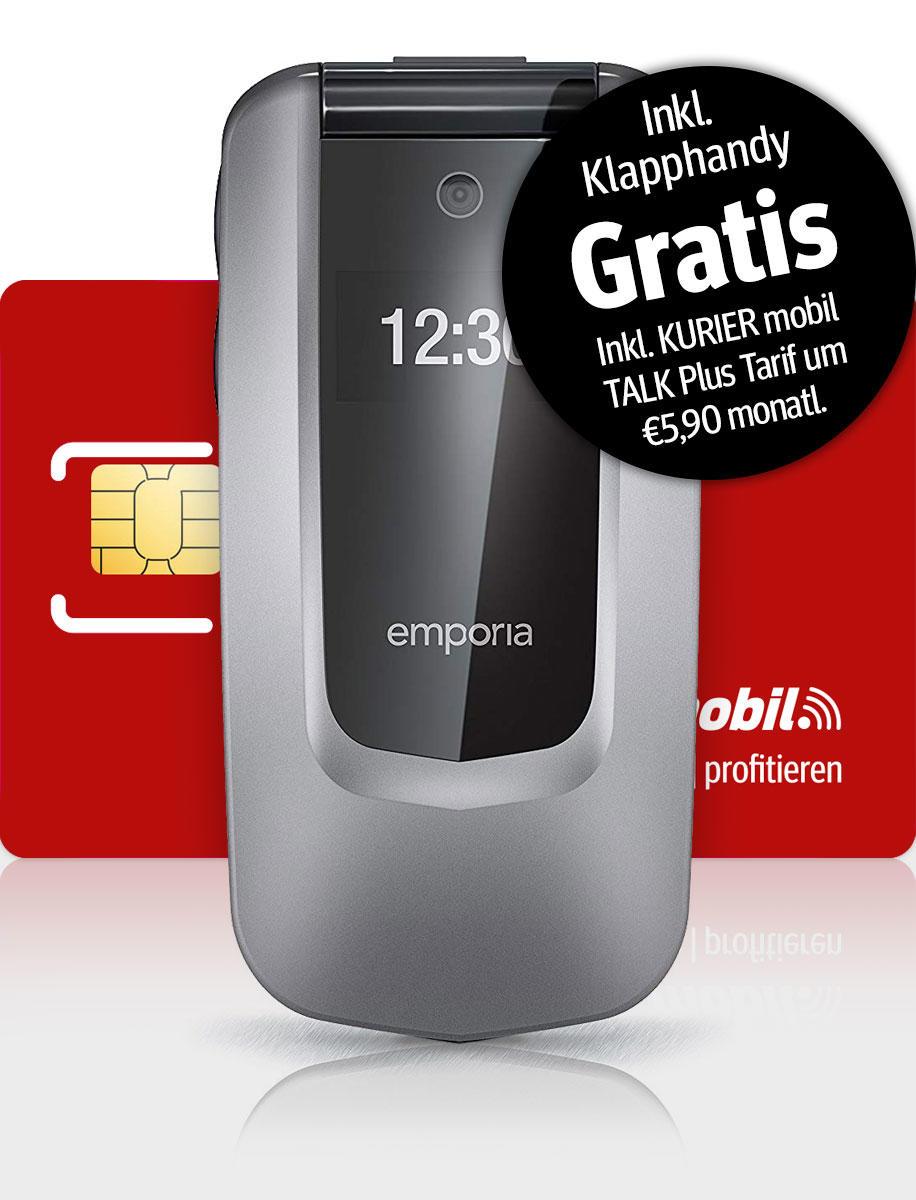 Komplettset mit Emporia Comfort Klapphandy und TALK Plus Tarif für KURIER Abonnenten
