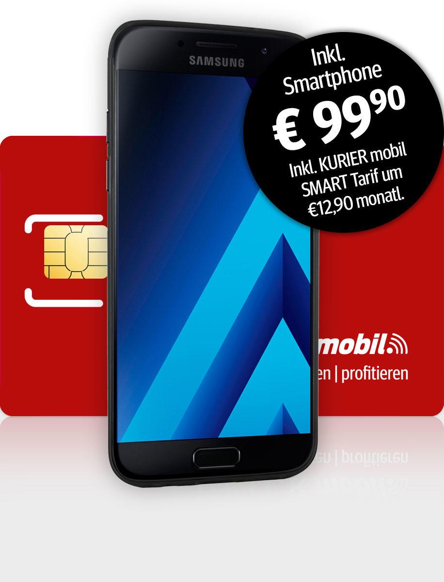 Komplettset mit Samsung Galaxy A3 und SMART Tarif für KURIER Abonnenten