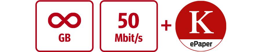 Inklusive unbegrenzte GB, 50 Mbit/s und KURIER Digital-Abo